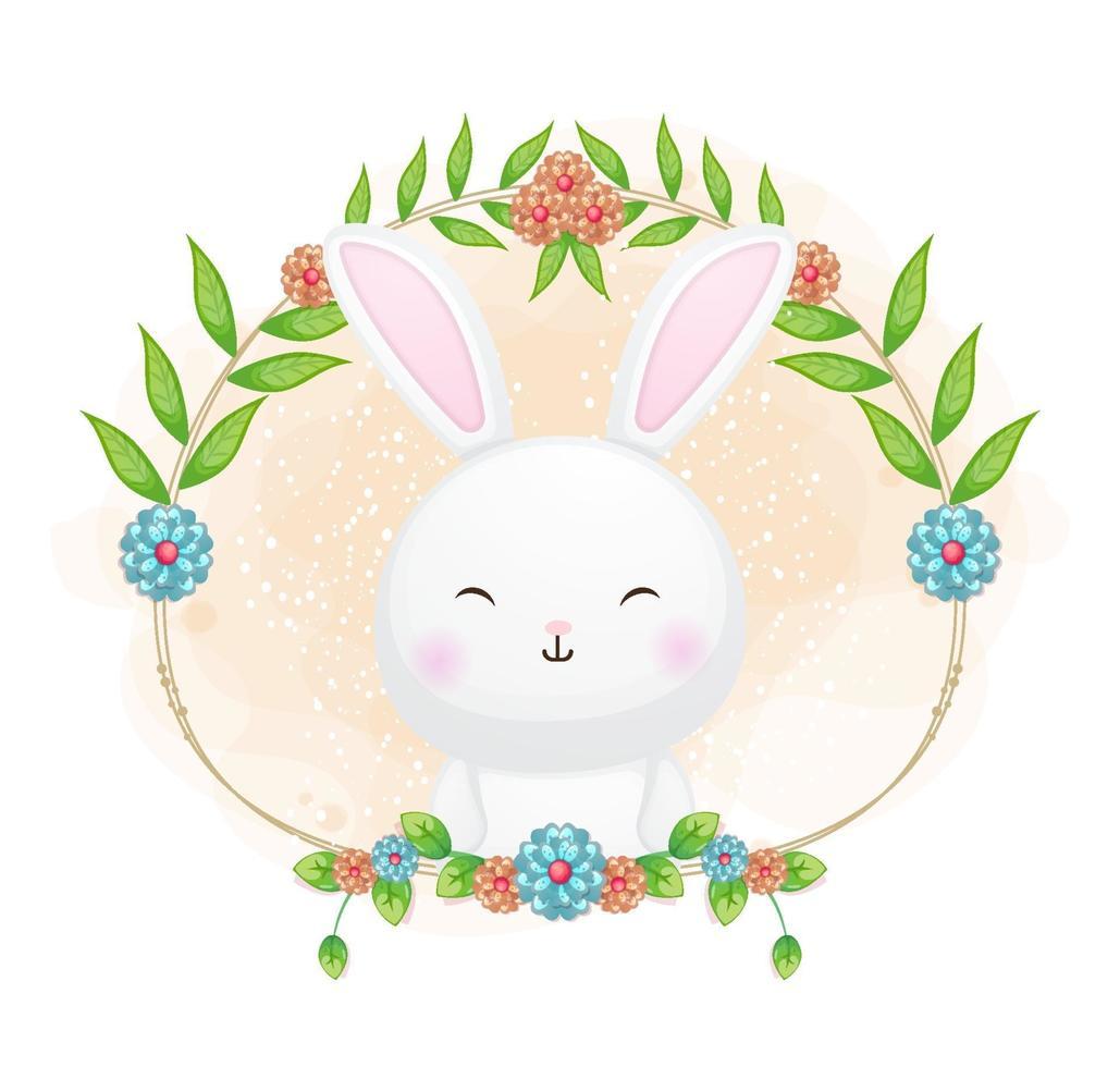 coelhinha com ilustração floral dos desenhos animados. animais com coleção floral vetor