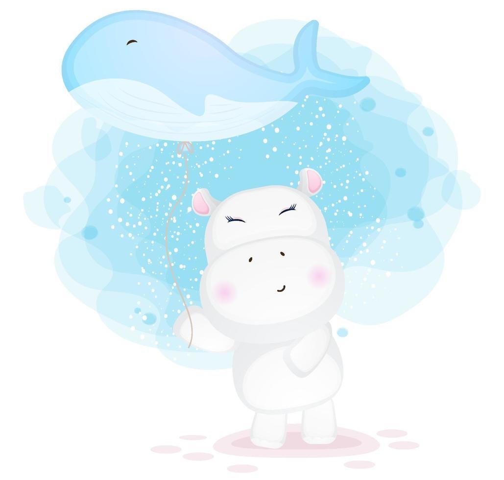 doodle hipopótamo fofo segurando ilustração de balão de baleia vetor