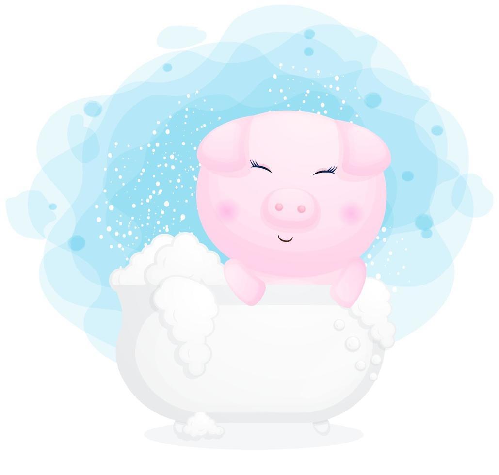 Porquinho fofo na banheira ilustração dos desenhos animados vetor