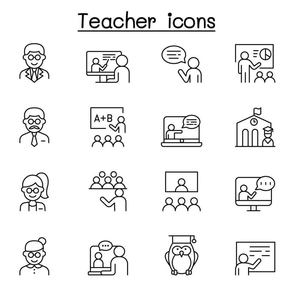 ícones de professores definidos em estilo de linha fina vetor