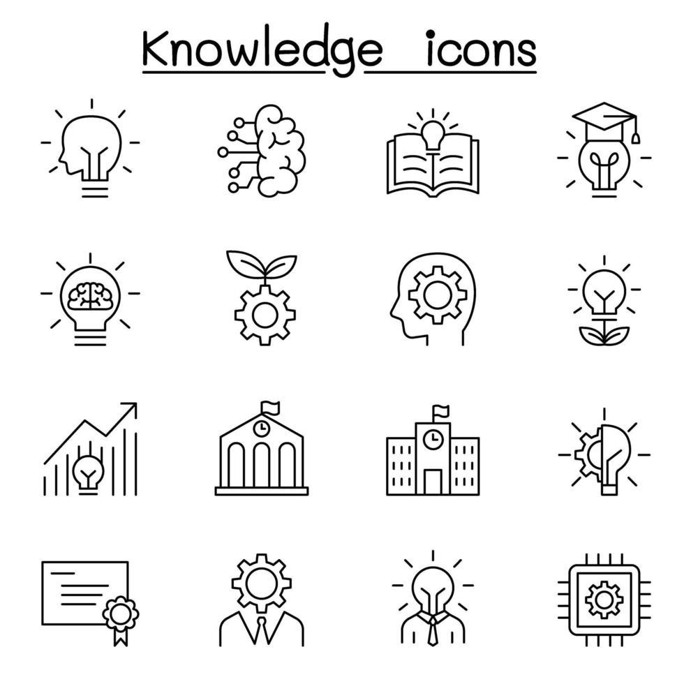 ícones de conhecimento definidos em estilo de linha fina vetor