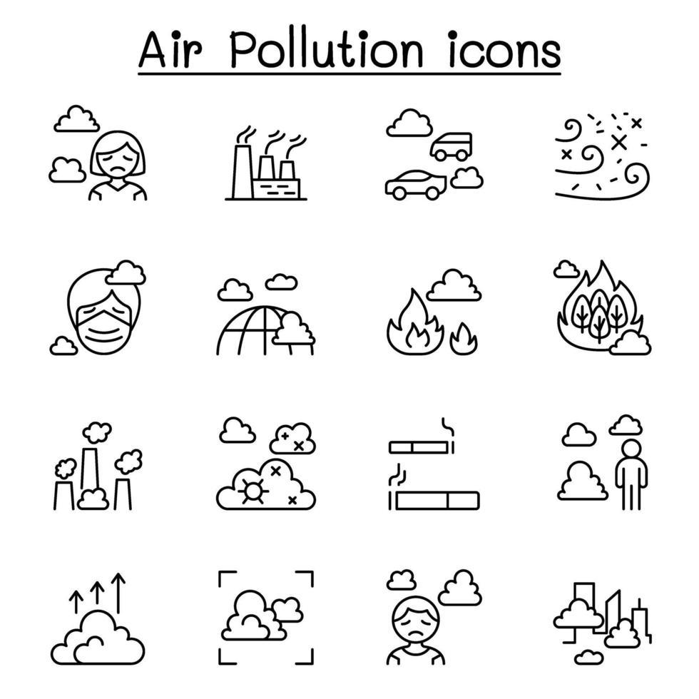 poluição do ar, crise de vírus, covid-19, ícone de vírus corona definido em estilo de linha fina vetor