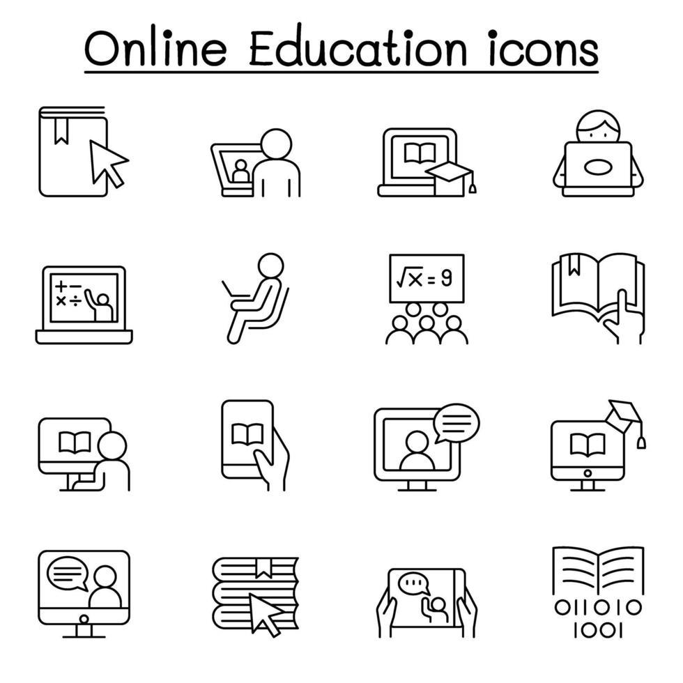 ícone de educação online definido em estilo de linha fina vetor