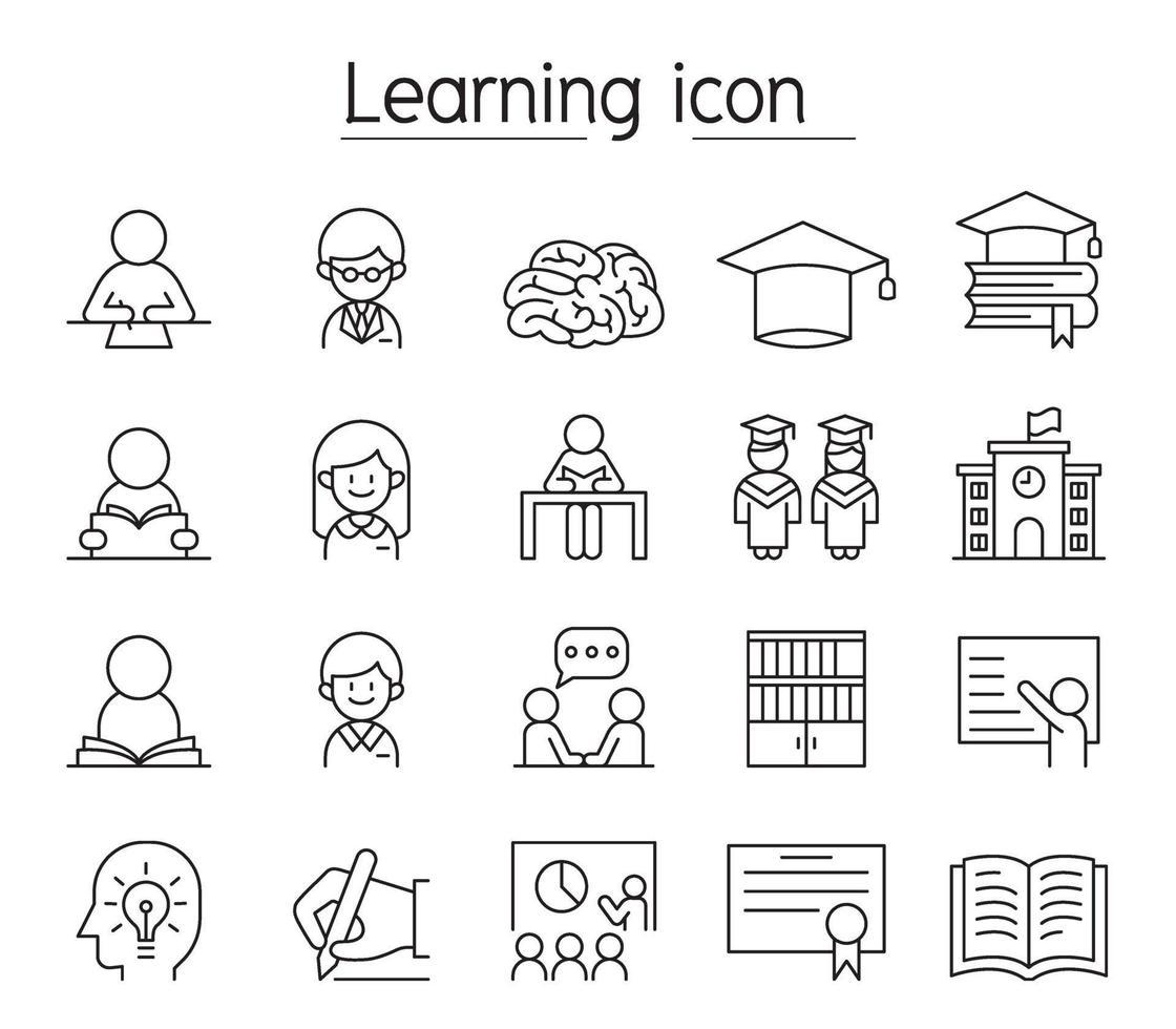 ícone de aprendizagem e educação definido em estilo de linha fina vetor