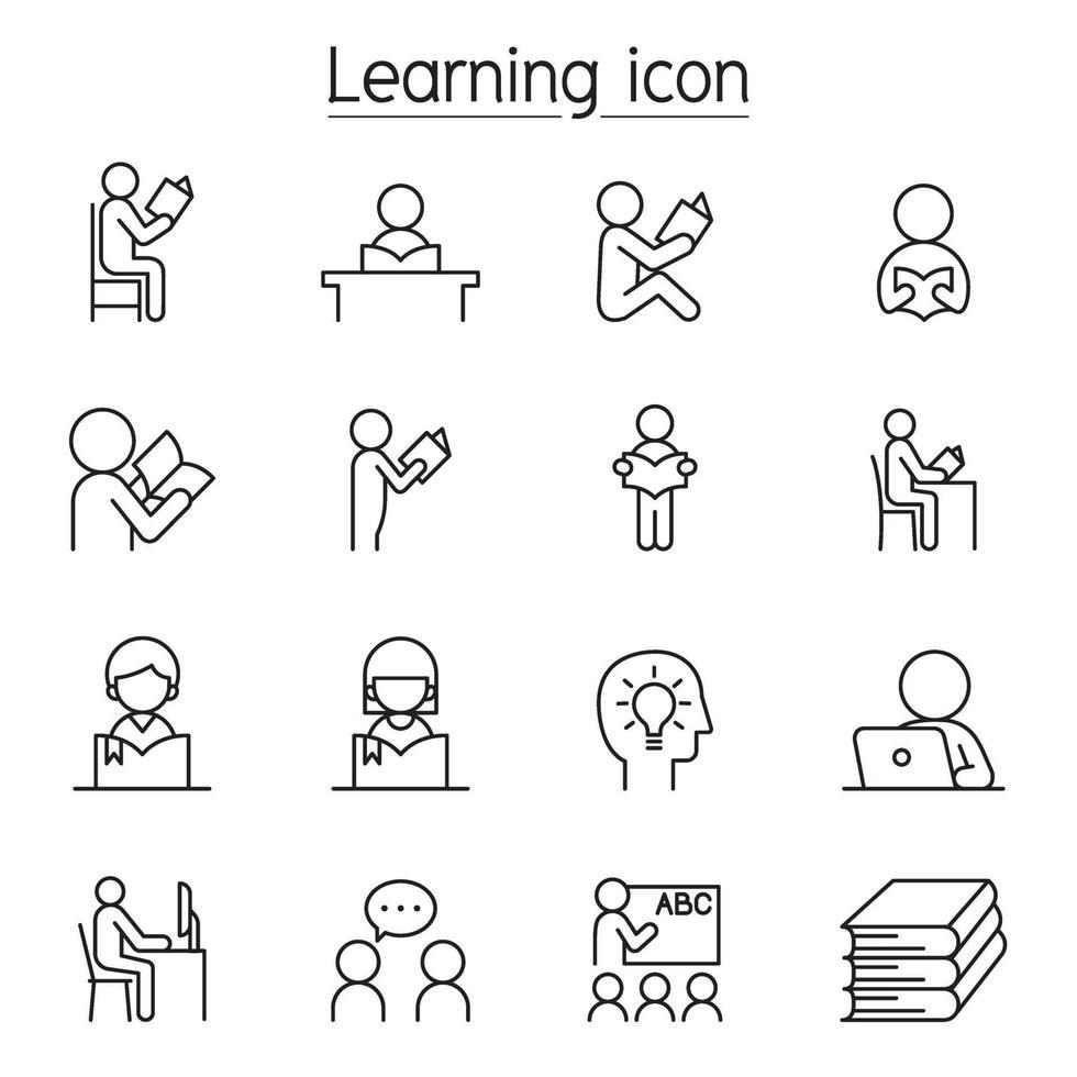 ícone de aprendizagem definido em estilo de linha fina vetor
