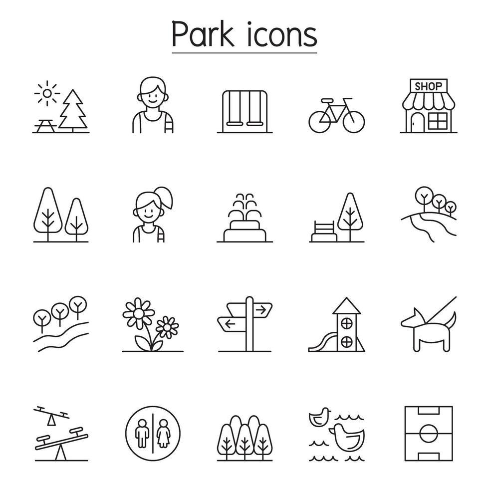 ícone do parque definido em estilo de linha fina vetor