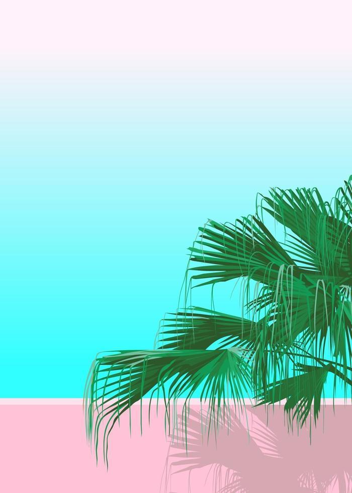 palmeira areca isolada em fundo rosa pastel e azul vetor
