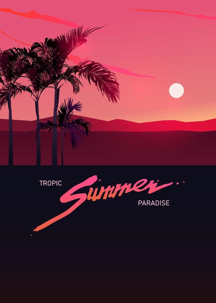 modelo gráfico de paraíso tropical de verão com espaço para texto vetor