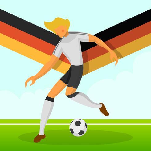 Modern Minimalista Alemanha Soccer Player para a Copa do Mundo de 2018 drible uma bola com gradiente de fundo vector