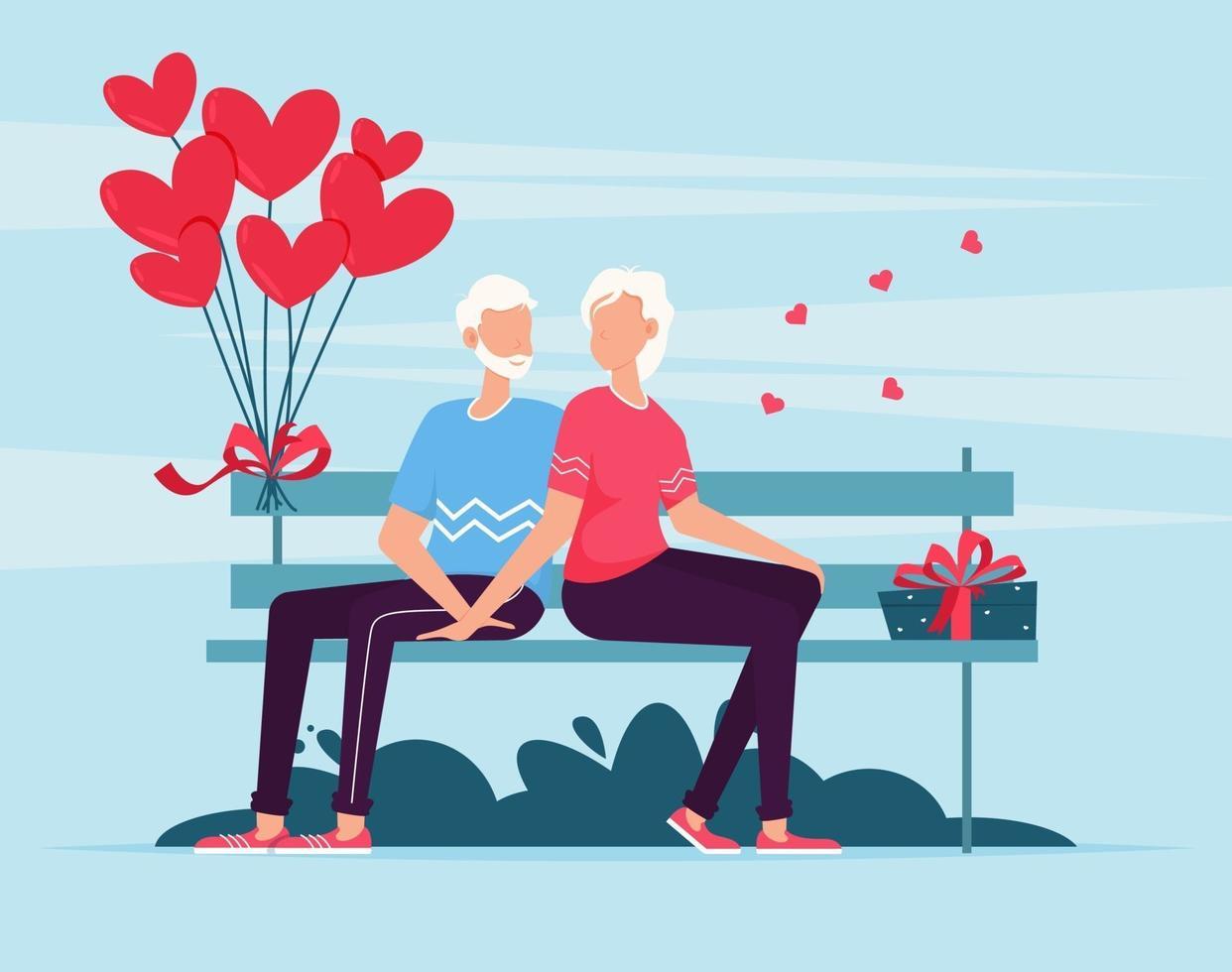 casal sênior sentado no banco. casal apaixonado no banco. Dia dos Namorados vetor