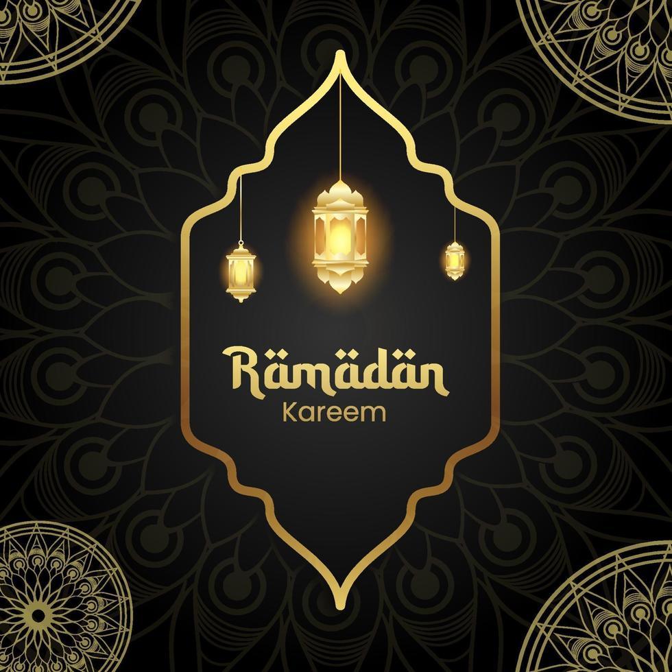 Ramadan kareem design background com lanterna para cartão, voucher, modelo de postagem de mídia social para evento islâmico vetor