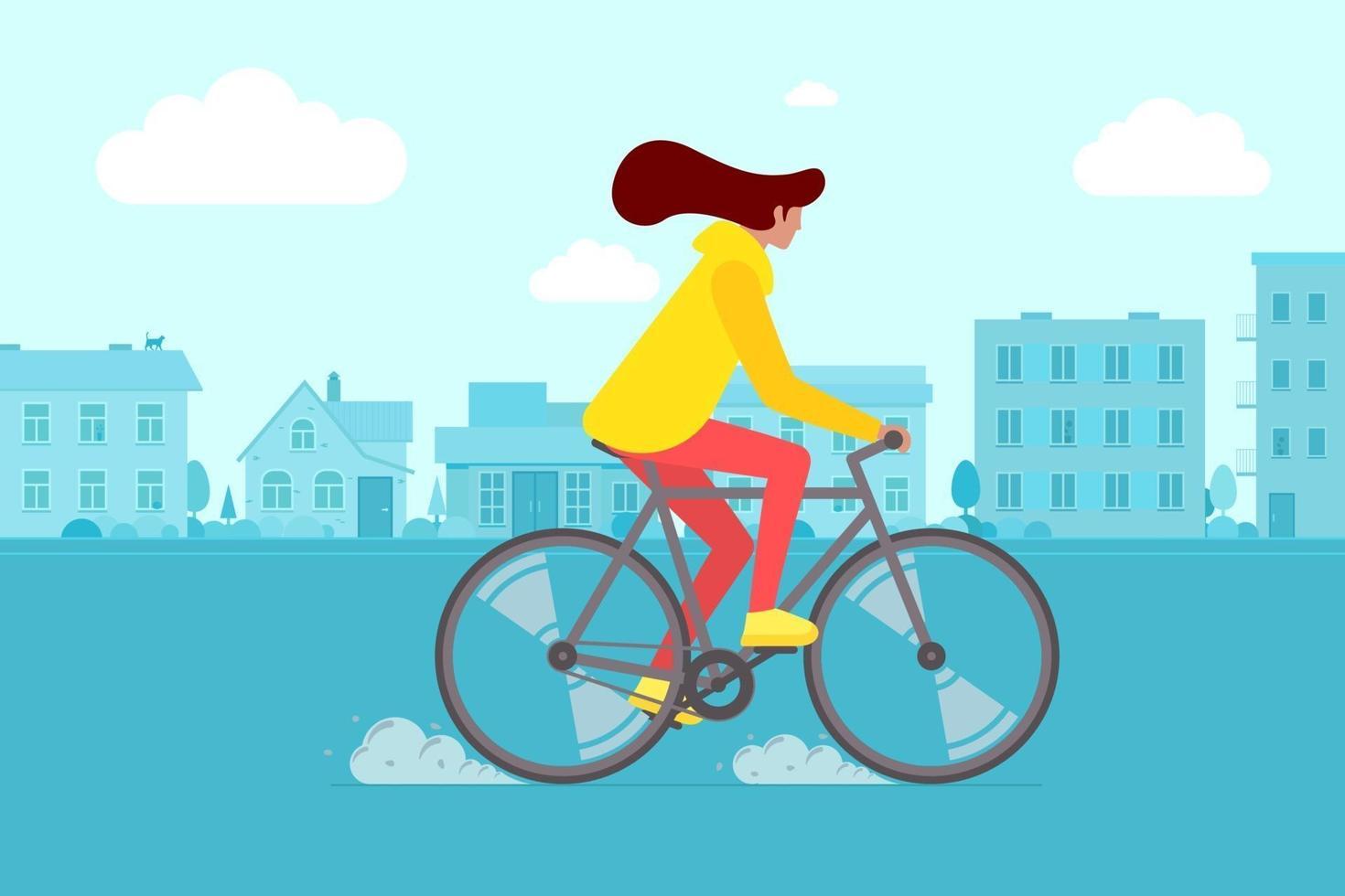 hipster feminina equitação bicicleta na rua da cidade. atividade de lazer do ciclista jovem na estrada da cidade. menina elegante na bicicleta ilustração plana vetor eps