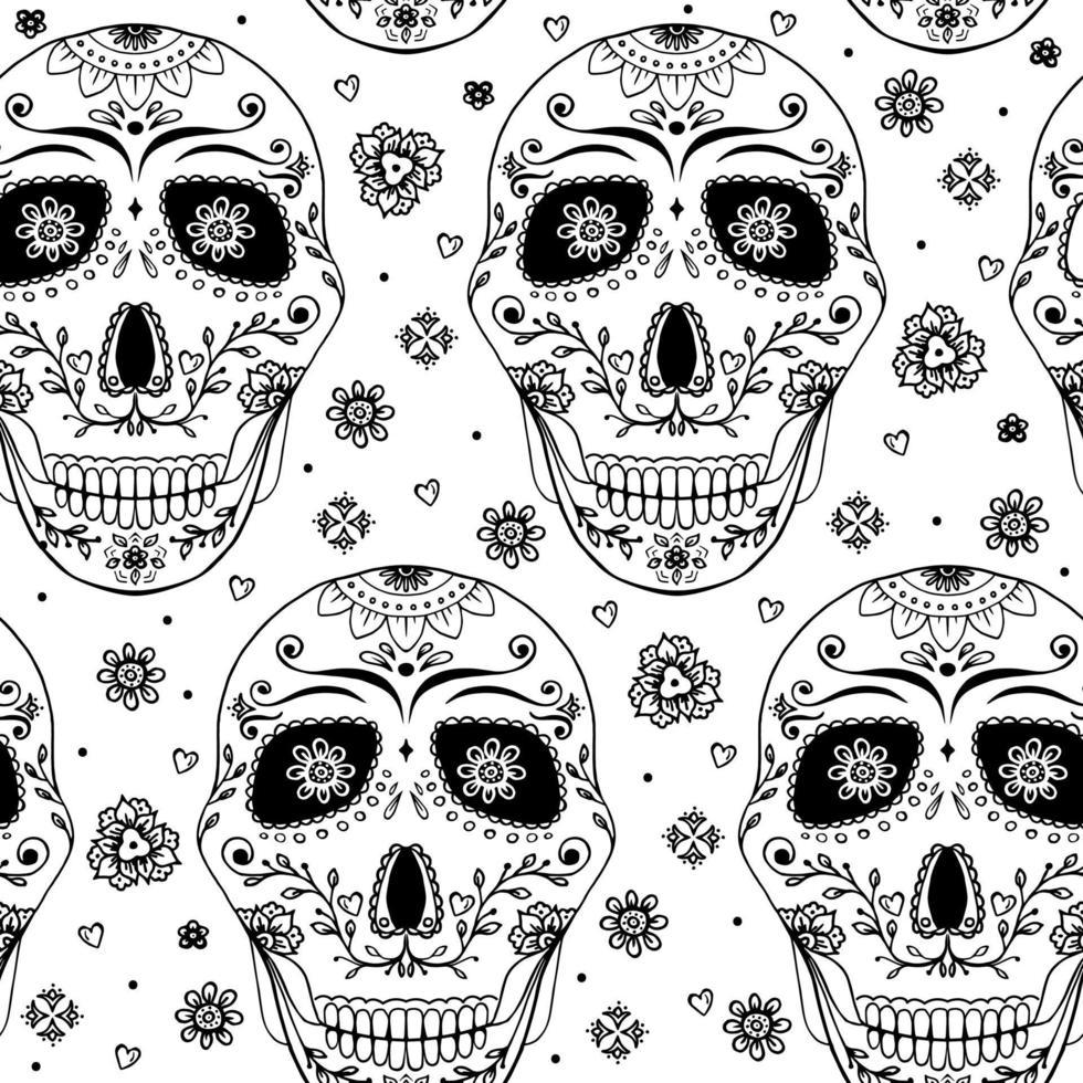 doodle crânio com flores e coração. vetor