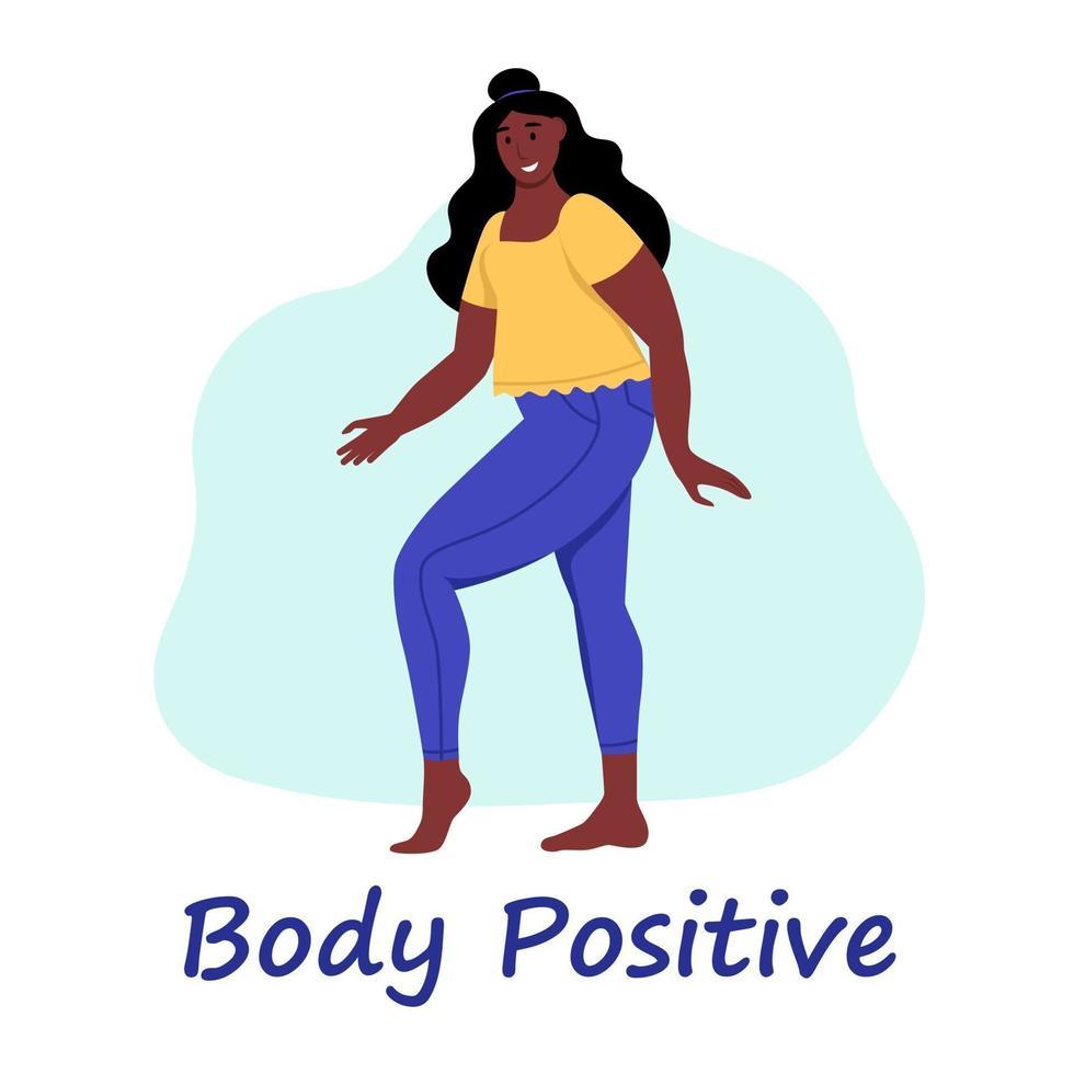 Mulher curvilínea. plus size girl. o conceito de positividade corporal, amor-próprio. AME seu corpo. ilustração em vetor plana dos desenhos animados.