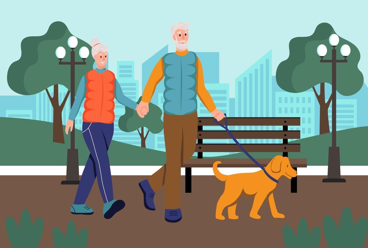 casal de idosos passeando com o cachorro no parque. o conceito de velhice ativa. dia do idoso. ilustração em vetor plana dos desenhos animados.