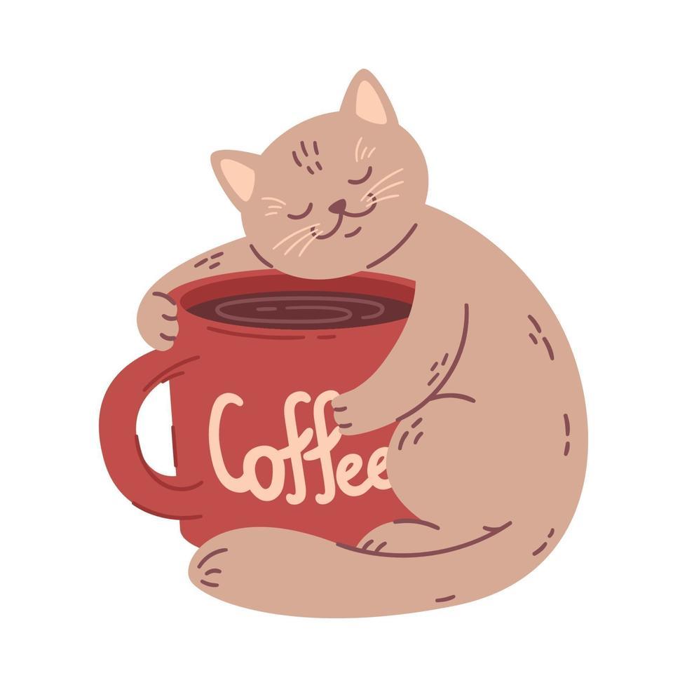 gato abraça uma xícara grande de café. ilustração vetorial para casas de café. isolado no fundo branco. pode ser usado para menu, logotipo ou folheto, cartão de felicitações, design de t-shirt, impressão ou cartaz. vetor
