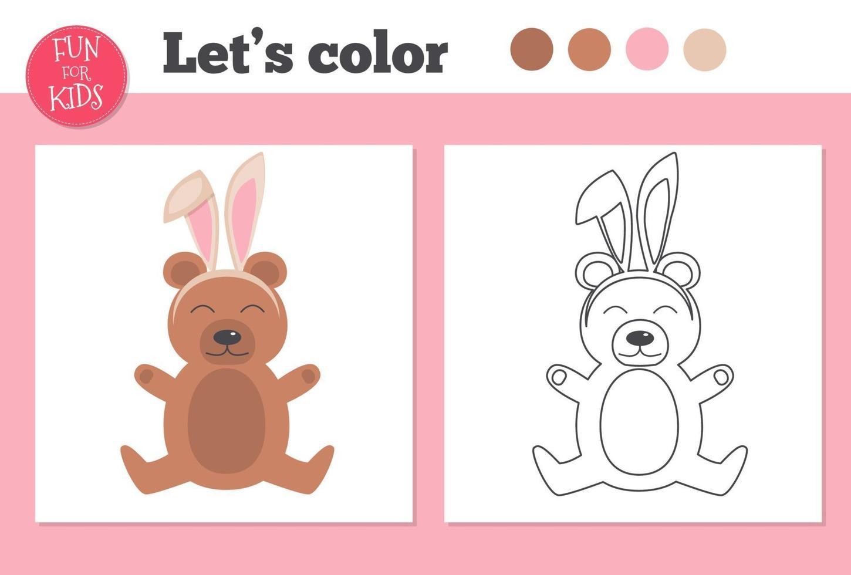 livro de colorir para crianças pré-escolares com urso e nível de jogo educacional fácil. vetor