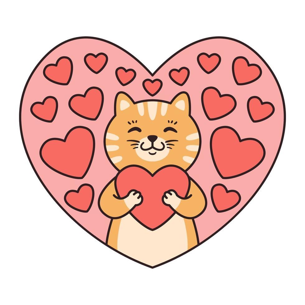 gato abraça um coração. cartões para dia dos namorados, aniversário, dia das mães. ilustração em vetor personagem animal dos desenhos animados isolada no fundo branco. estilo dos desenhos animados do doodle.