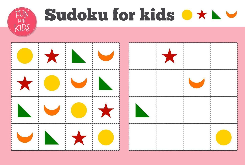 sudoku. crianças e mosaico matemático adulto. quadrado mágico. jogo de lógica. vetor