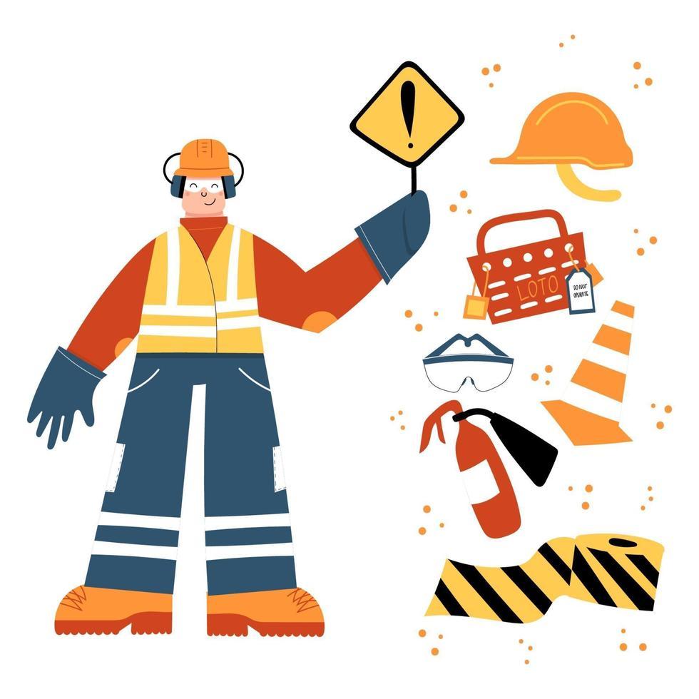 trabalhador da construção civil segurando uma placa de perigo com clipart de equipamentos de segurança vetor