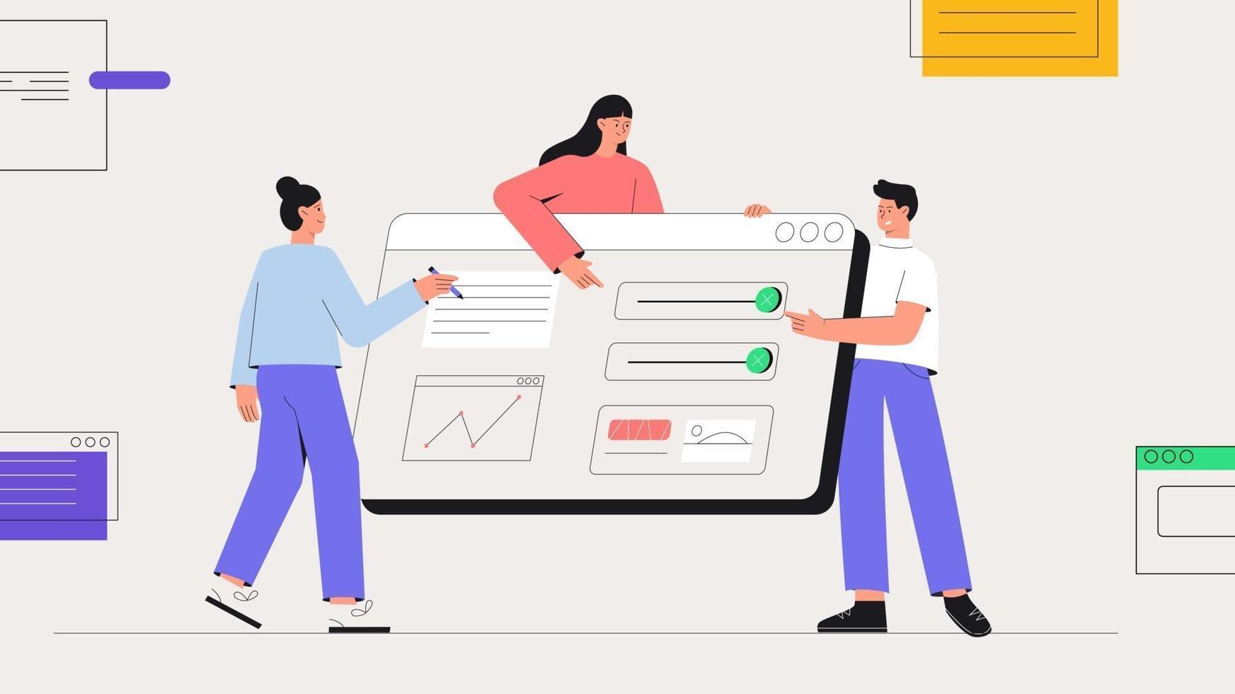 ilustração de pessoas de negócios em vetor estilo simples. empresa de desenvolvimento de software, codificação e programação. organização do fluxo de trabalho, desenvolvimento de software de computador.
