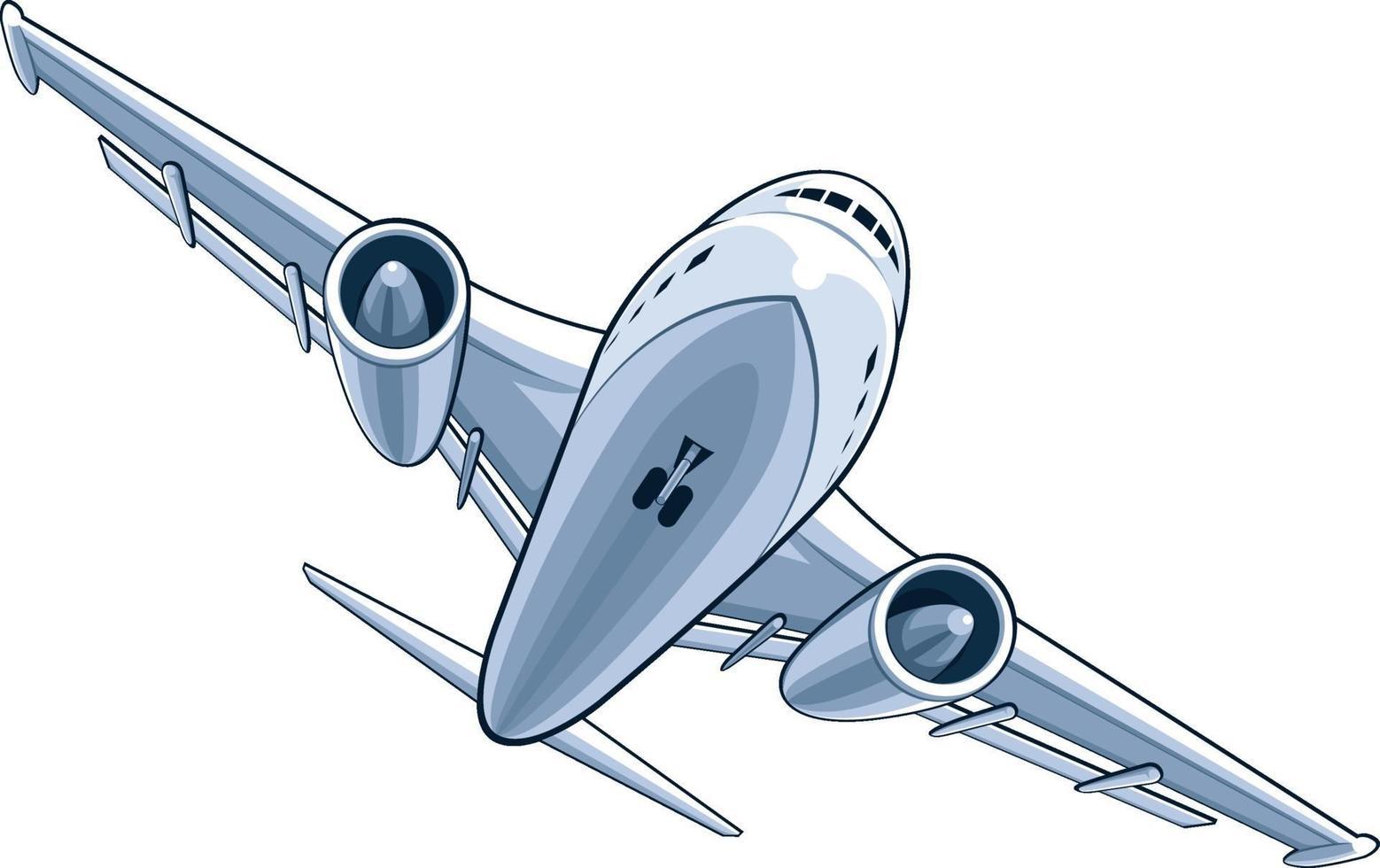 ilustração dos desenhos animados do avião comercial jumbo aeronave jato vetor