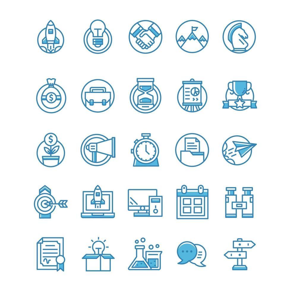 conjunto de ícones de inicialização com estilo azul. vetor