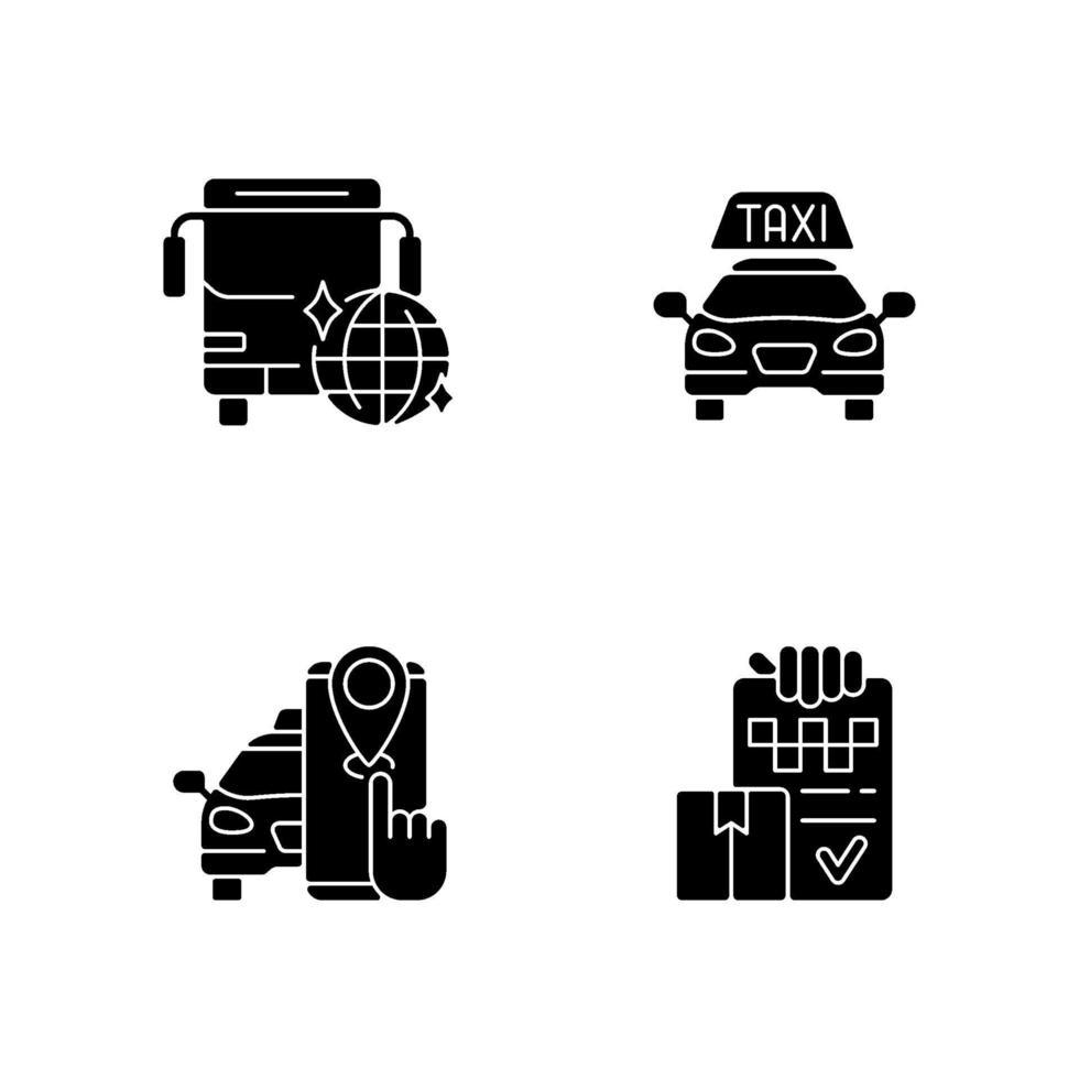 ícones de glifo preto de serviço de táxi definidos no espaço em branco vetor