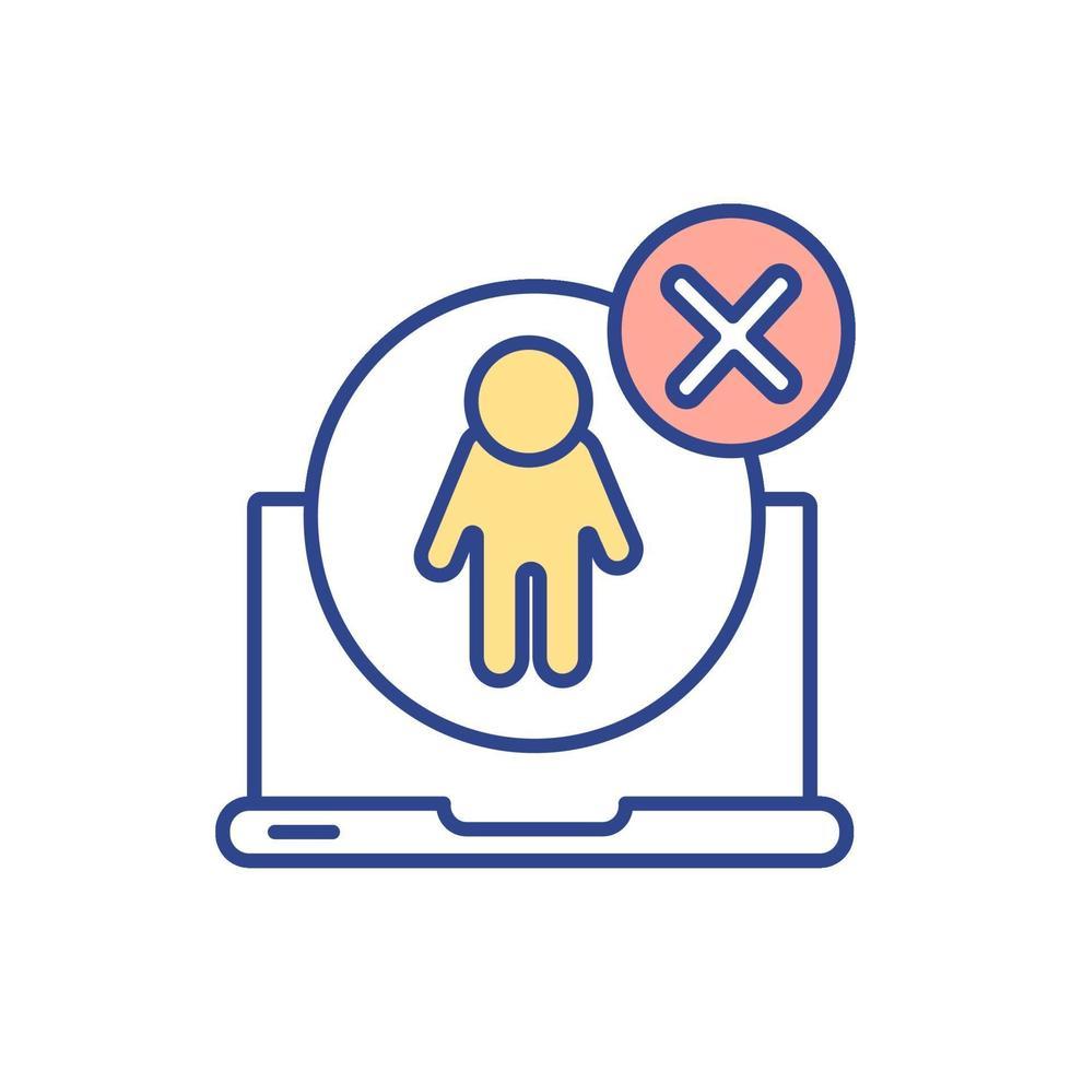 ícone de cor rgb de acesso não autorizado a computador vetor