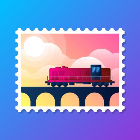 Ilustração em vetor logotipo retrô locomotiva selo Design