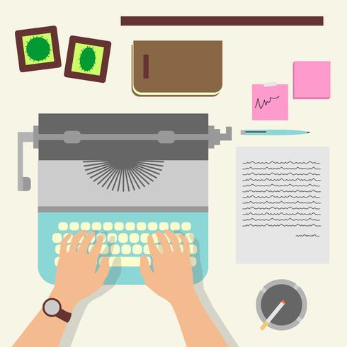 Mãos de homem, escrevendo um artigo sobre uma máquina de escrever Vintage vetor