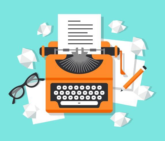 Local de trabalho com ilustração de máquina de escrever vetor
