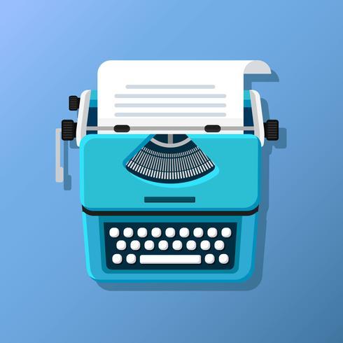 Máquina de escrever design plano vetor