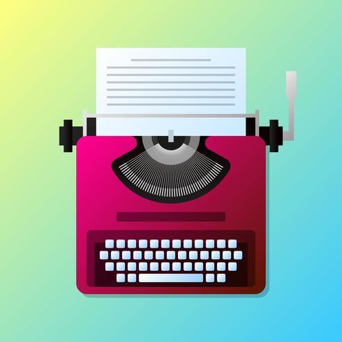 Manual vintage elegante máquina de escrever com ilustração de lista de papel vetor