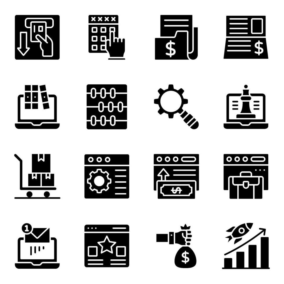 ícones sólidos de negócios e análises online vetor