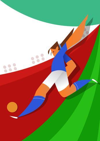 Bola de chute de jogadores de futebol de Copa do mundo de Itália vetor