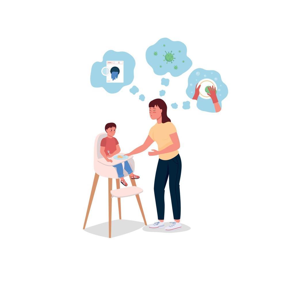 mãe estressada com o bebê na cadeira alta, personagens detalhados de vetor de cores
