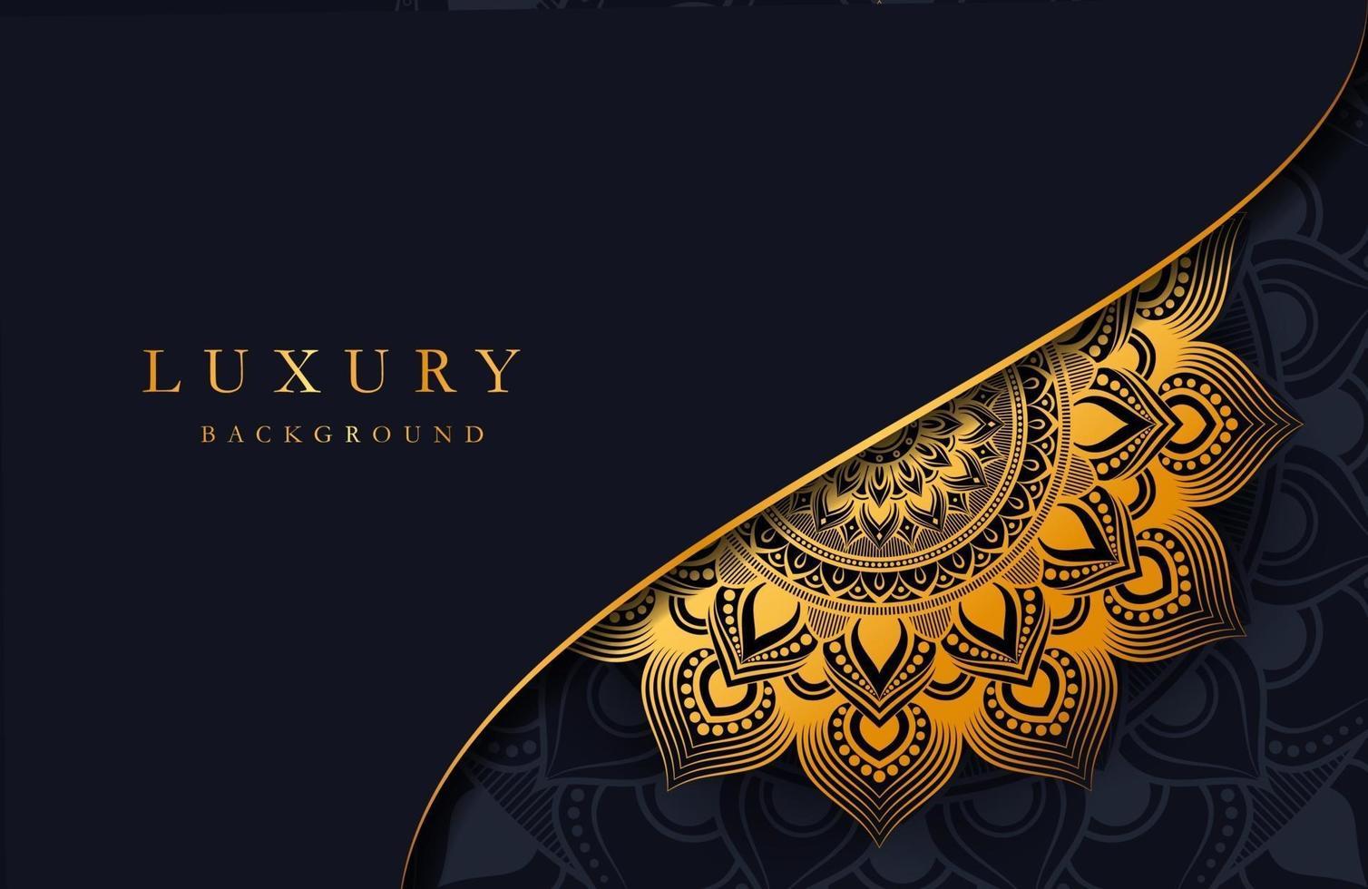 fundo luxuoso com ornamento de mandala islâmica dourada em superfície escura vetor