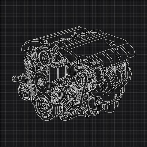 Ilustração de desenho de mão de motor de carro vetor