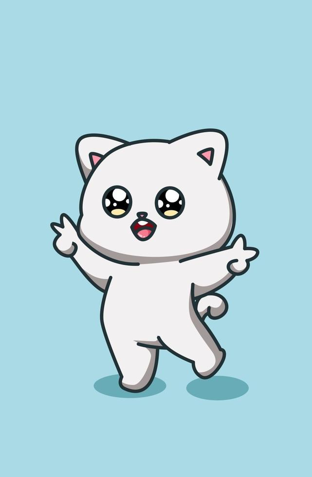 pequeno gato bonito e feliz desenho animado vetor