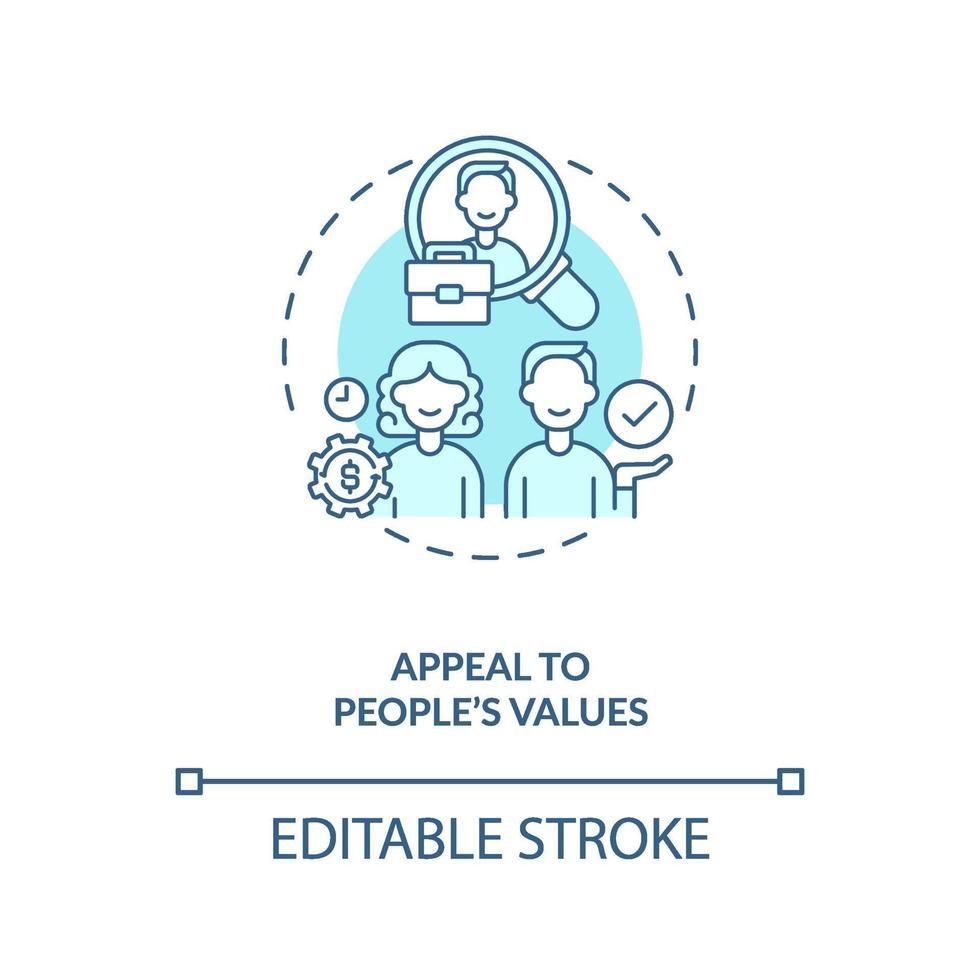 apelo aos valores do ícone do conceito de pessoas vetor