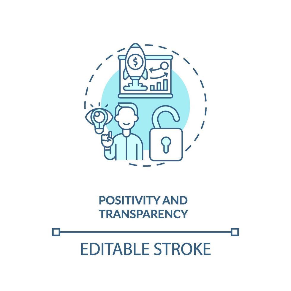 ícone do conceito de positividade e transparência vetor