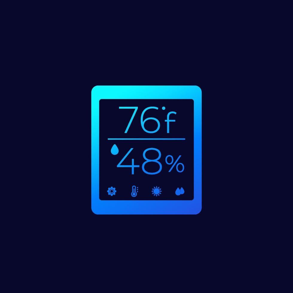 ícone de vetor de monitor de temperatura e umidade