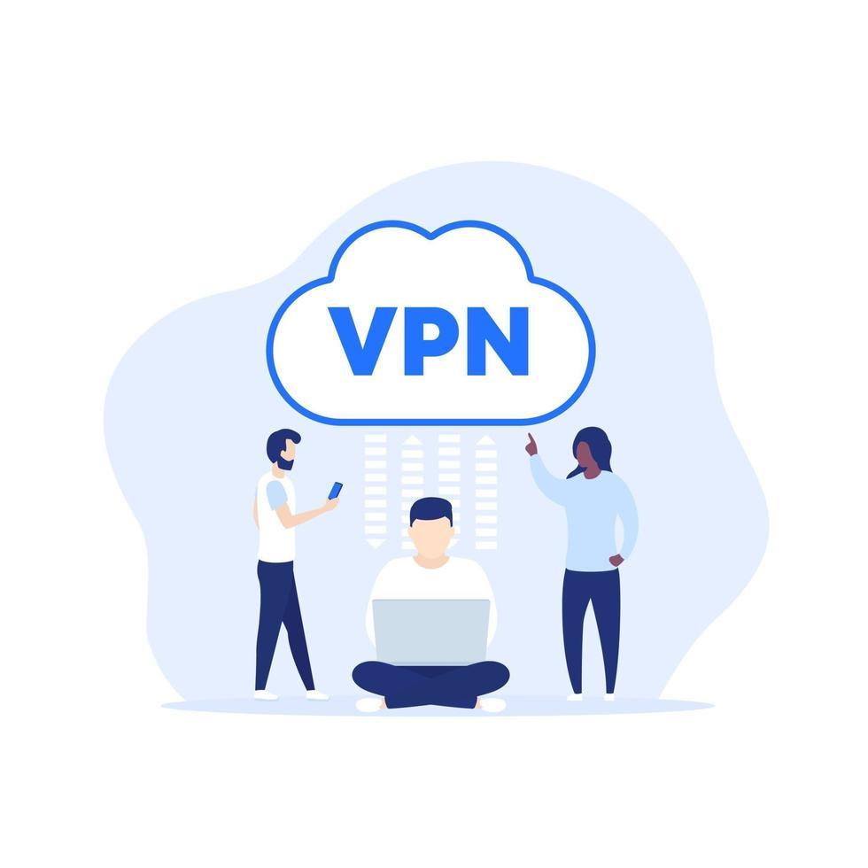 ilustração vetorial de acesso vpn com pessoas vetor