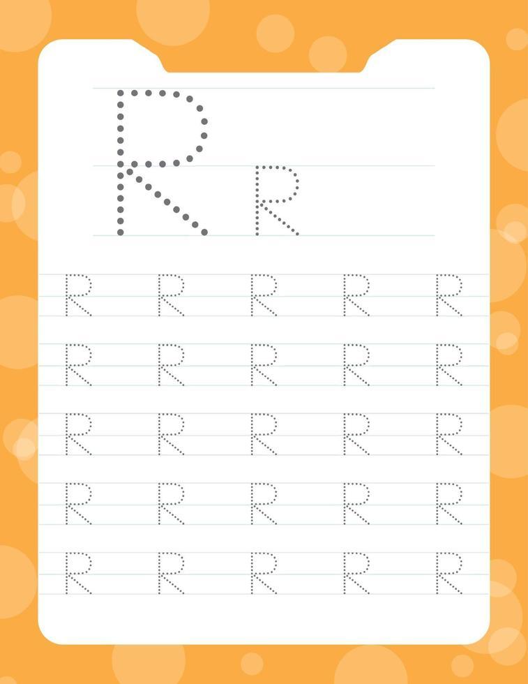 letra r rastreando planilhas do alfabeto vetor