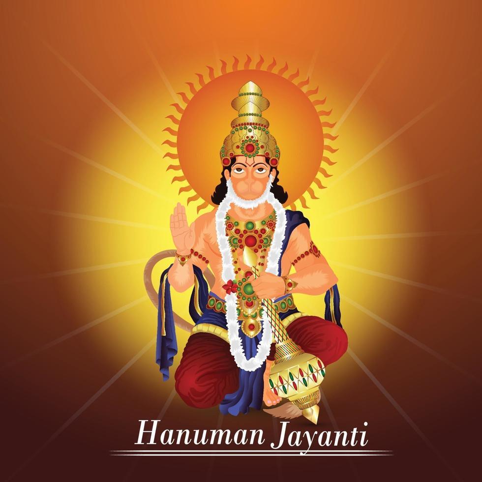 ilustração criativa do festival indiano lord hanuman jayanti vetor