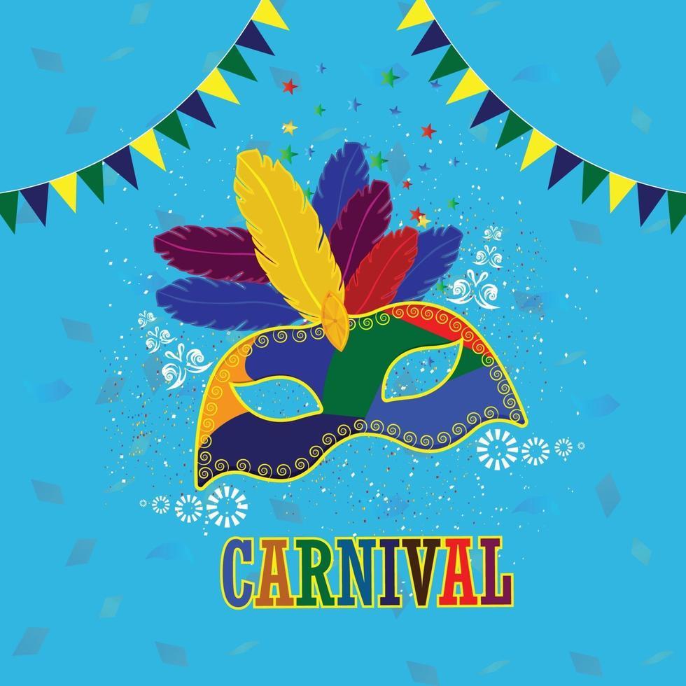 máscara de carnaval colorida com máscara plana de carnaval vetor