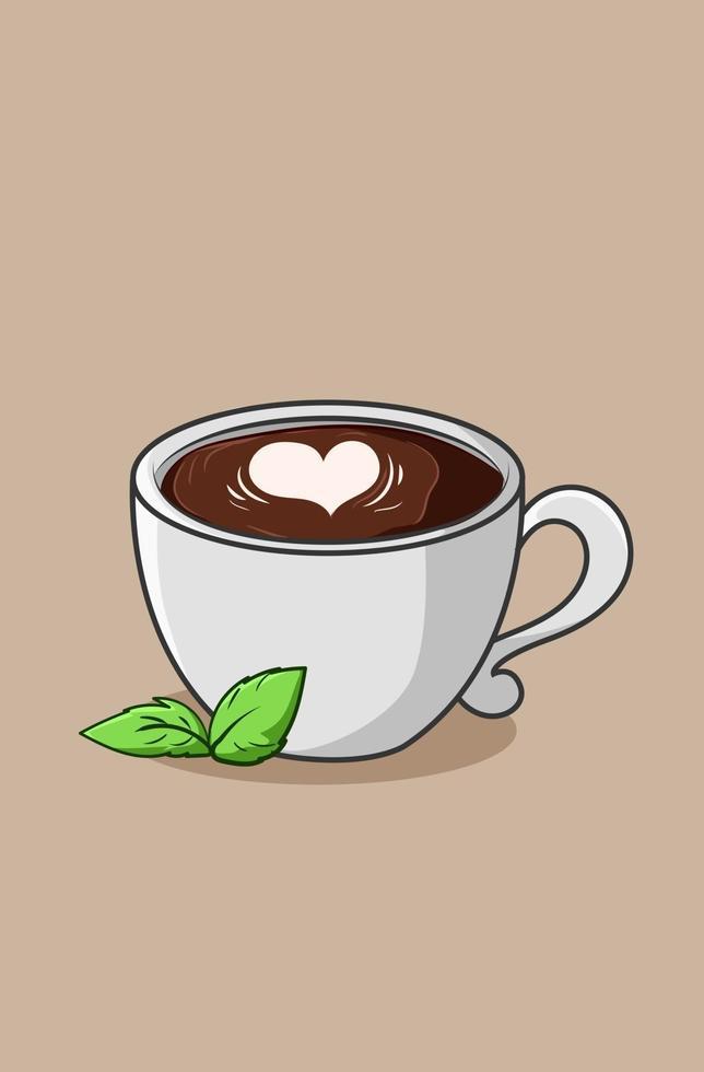 xícara de cappuccino café ícone cartoon ilustração vetor