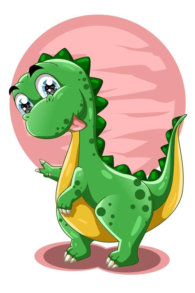 um pequeno dinossauro fofo com ilustração em vetor animal de fundo rosa