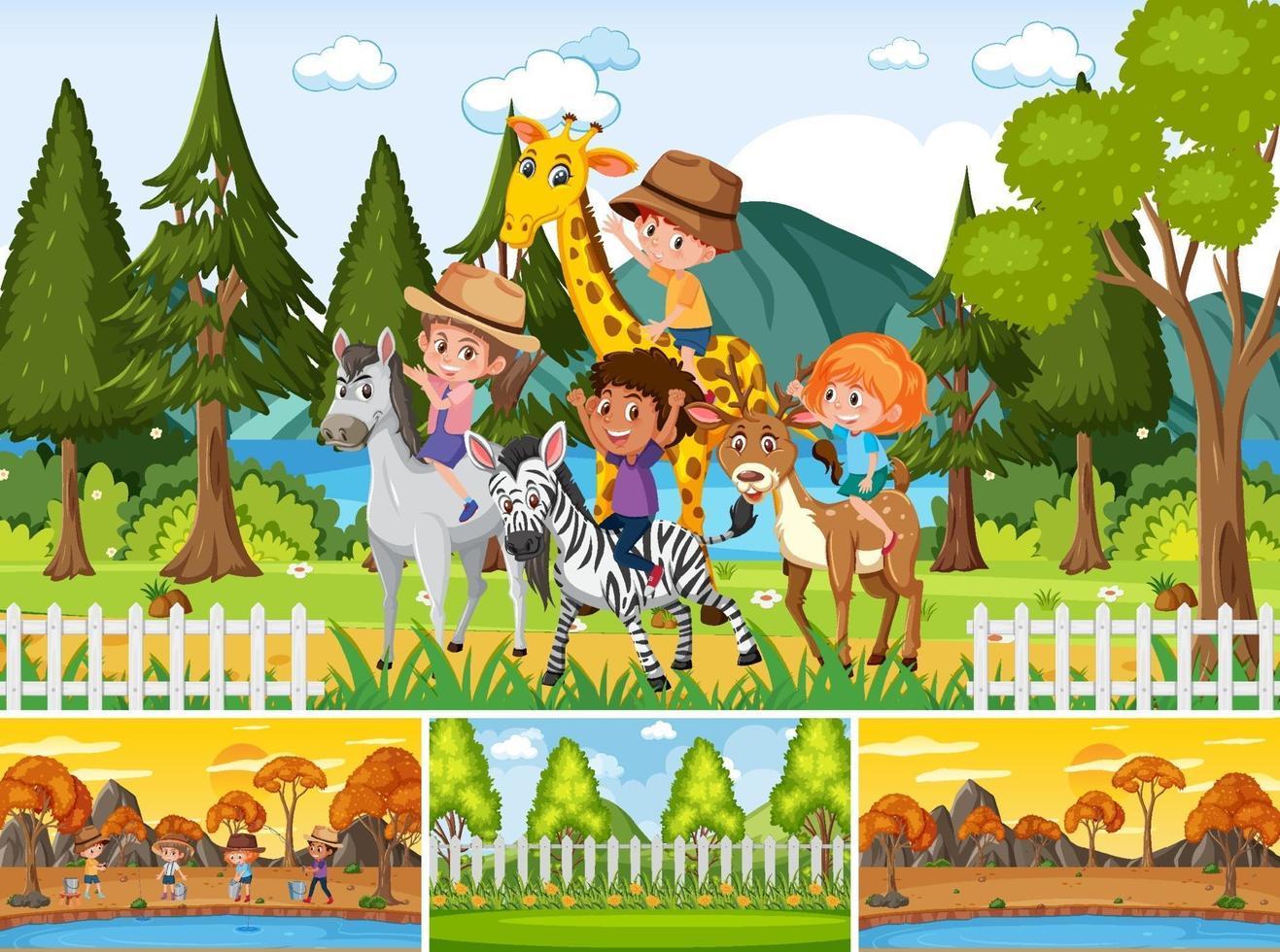 quatro cenas diferentes com personagens de desenhos animados infantis vetor
